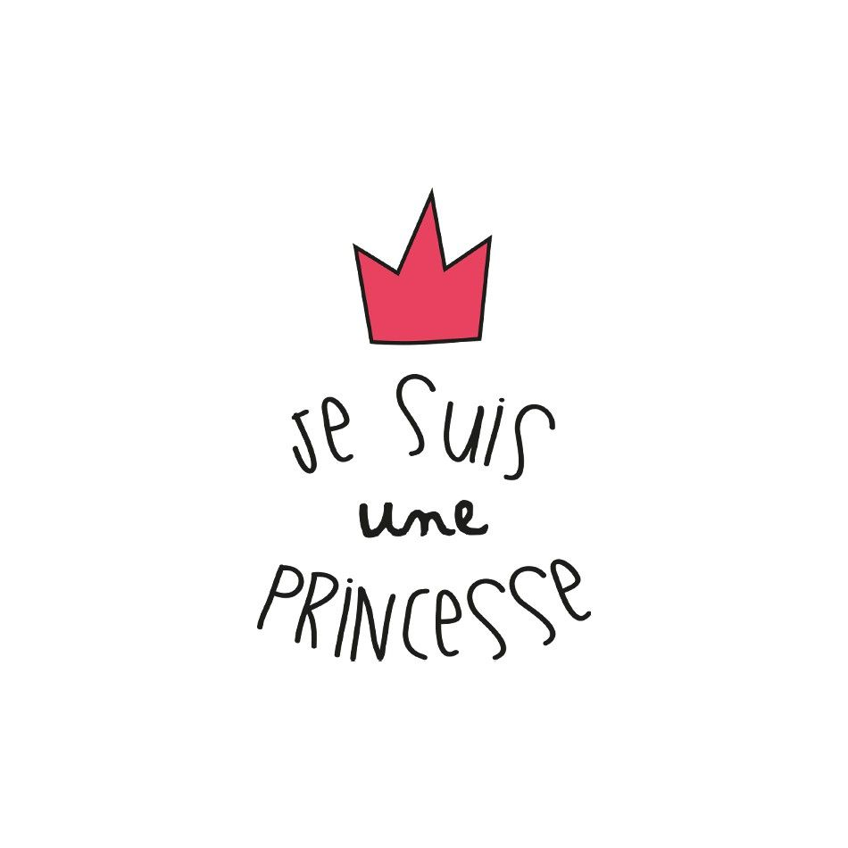 sticker enfant je suis une princesse pour la d coration de sa chambre mots stickers et. Black Bedroom Furniture Sets. Home Design Ideas