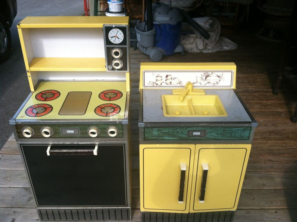 Set of Vintage Sears Metal Play Kitchen Stove and Sink