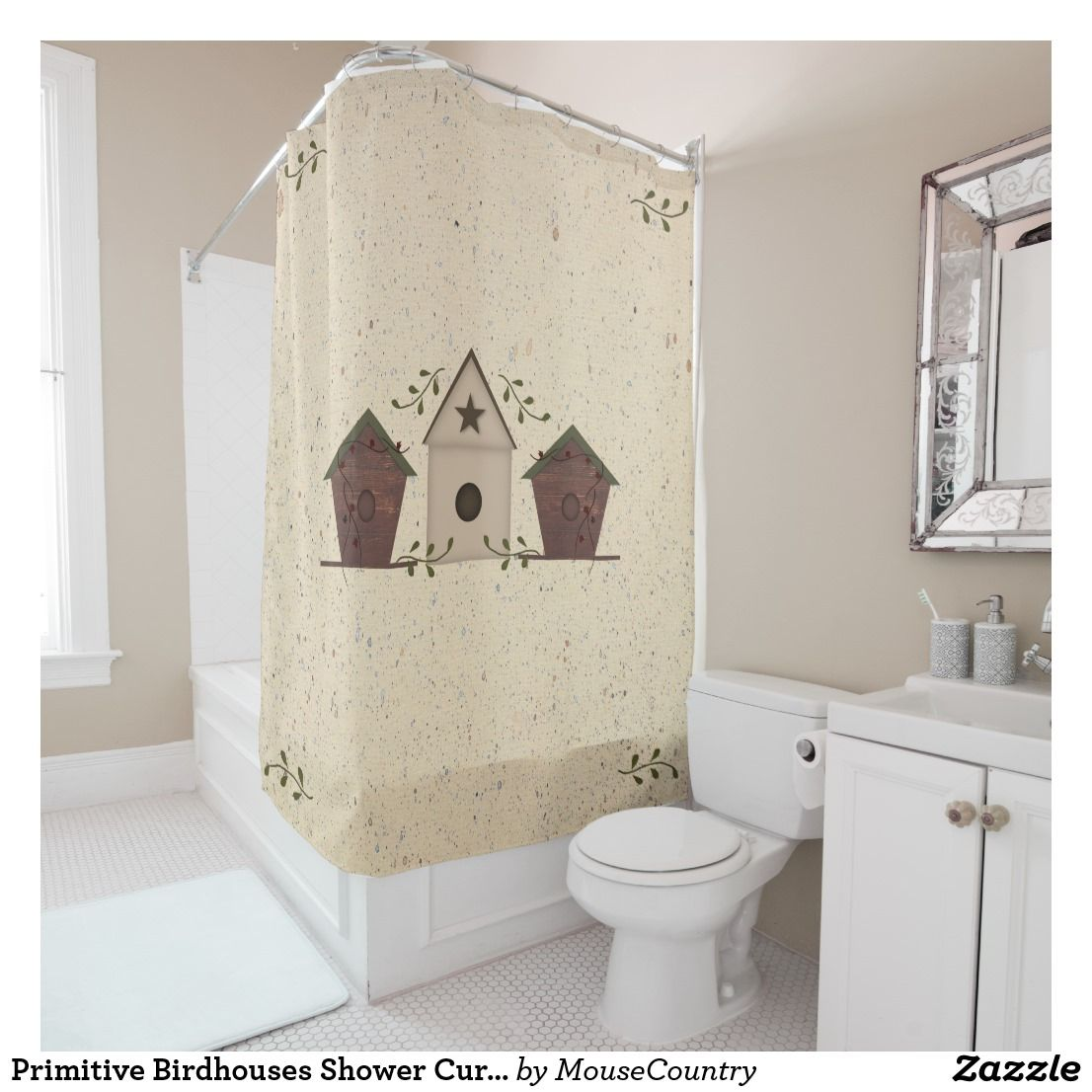 Primitive Birdhouses Shower Curtain Lovely Showercurtains Bathroomshowercurtains Zazzleshowercurtain ShowercurtainZazzle