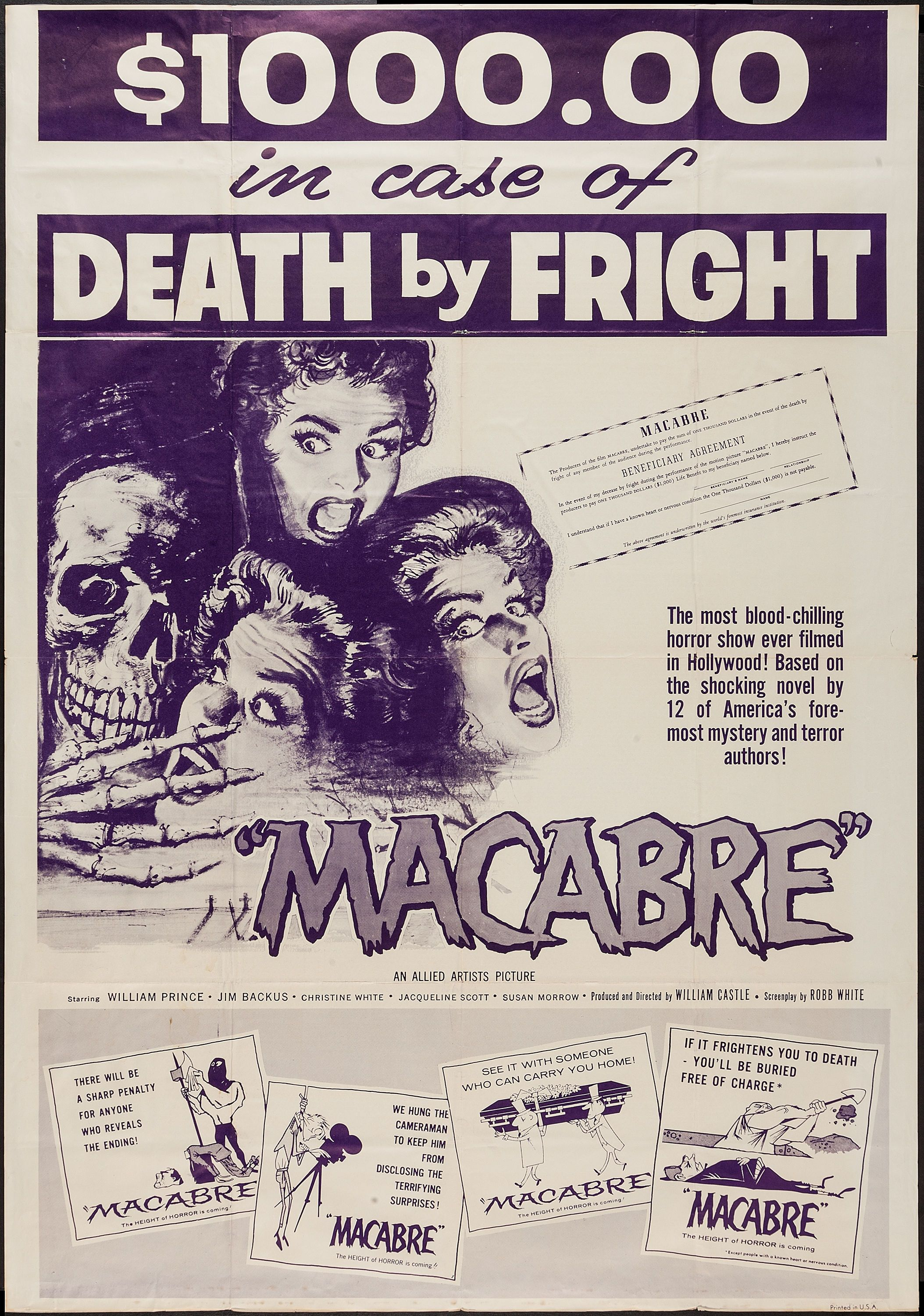 1958 Macabre Cult Horror movie poster print