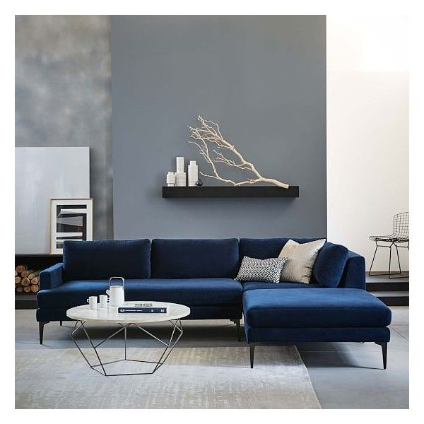 West Elm Andes  Set 4: Right Arm 2-Seater Sofa, Ottoman, Corner, Twill, Stone ($2,197) found on Polyvore featuring home, furniture, sofas, charcoal grey couch, dark gray sectional, west elm, dark gray sofa and dark grey sofa