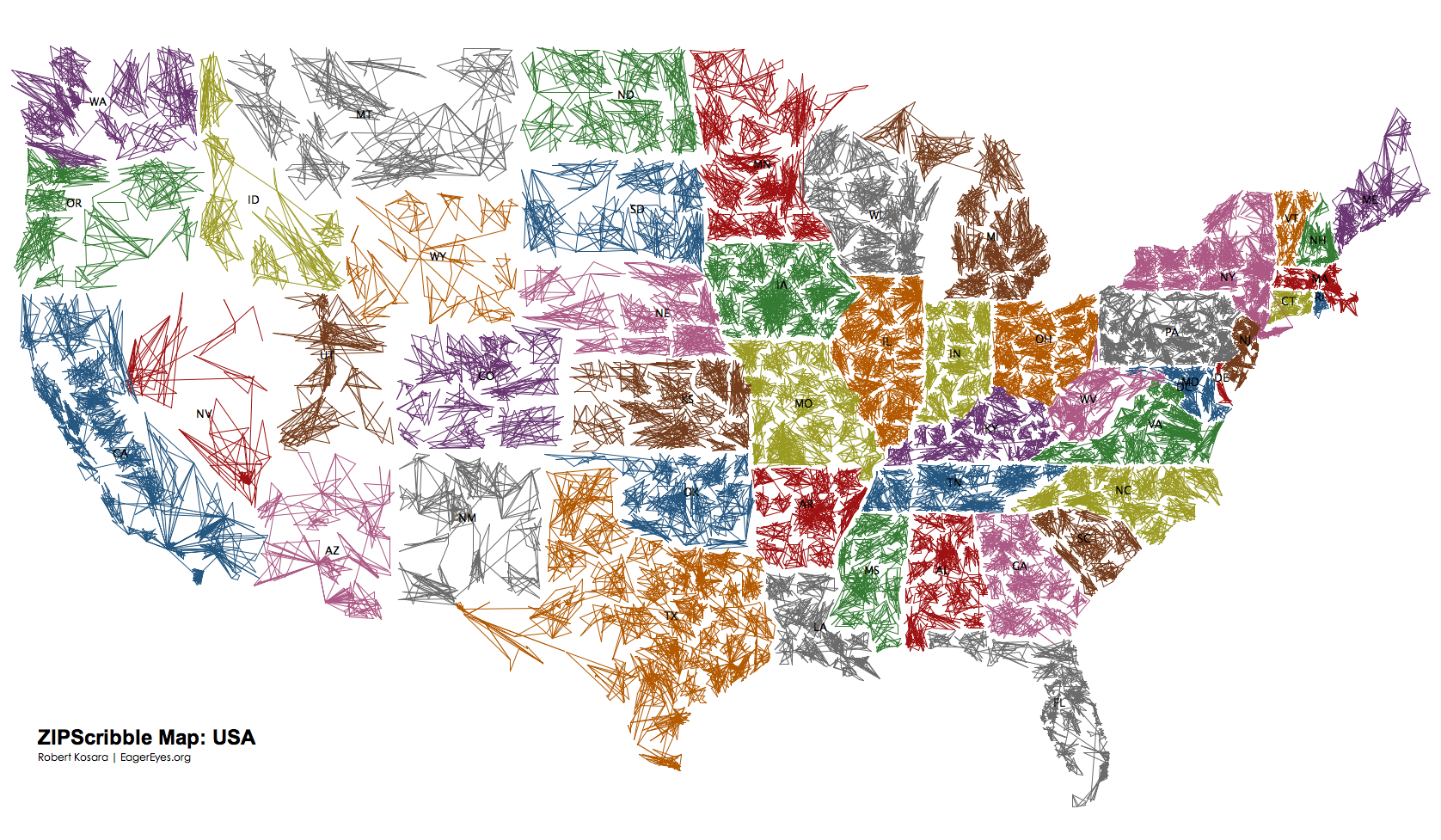 Us Map Color Code.All The Colors Of The Us Or The Roots Of Zip Code Routing From
