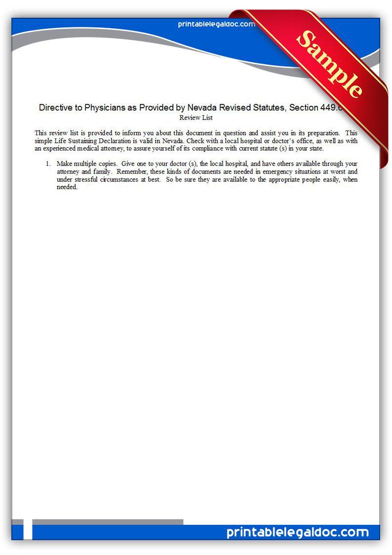 Free Printable Life Sustaining Statute, Nevada Form