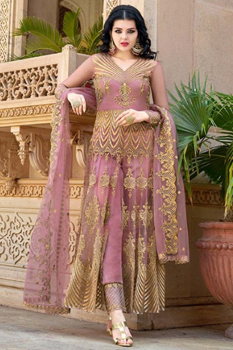 Buy Mauve Pink Embroidered Net Anarkali Suit With Straight