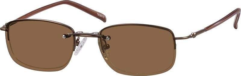 50c6d5d6585eb Zenni Mens Rectangle Prescription Eyeglasses Half-Rim W  Snap-On Sunlens  Brown Stainless