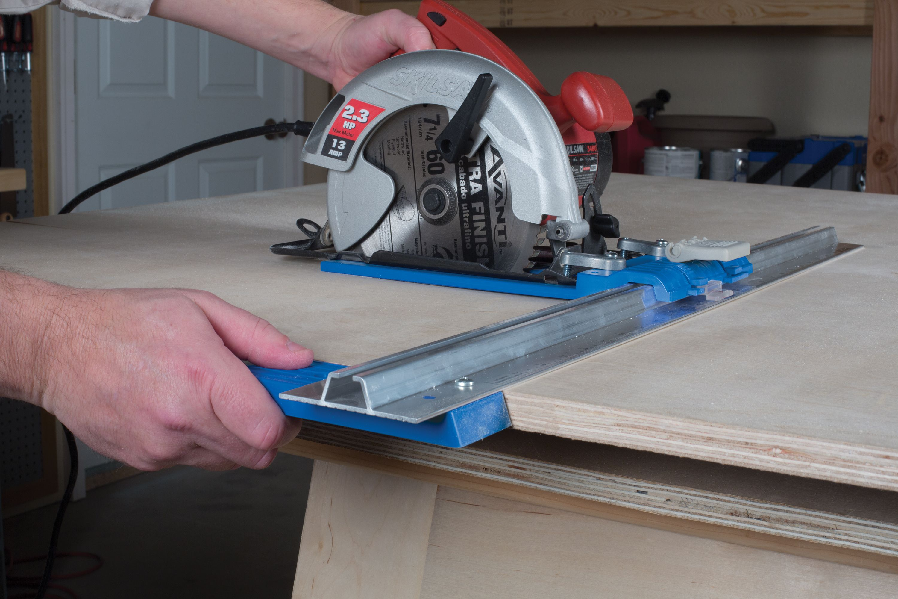 """5 simple steps for smooth, successful cuts: 1) Turn on your saw and let the blade get to full speed before it contacts your material. 2) Give the blade time to cut, and don't """"force"""" the saw forward. 3) Guide the saw with your dominant hand, and keep your eye on where the saw is going. 4) Support the sheet well so that it won't move as you cut, and so that none of your parts fall. 5) Maintain control of your saw throughout the entire cut, making sure the saw doesn't bind or kick back."""