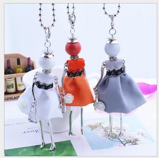 Korea Creative little girl necklace pendants sweater chain humanoid woman