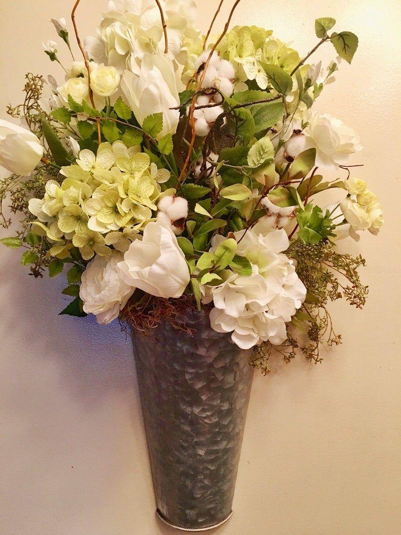 Photo of Farmhouse hydrangea flowers wall door decor farmhouse wreath