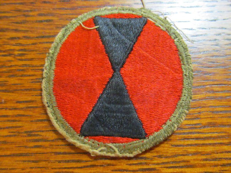 Original WW2 U.S. Army 7th Infantry Division Insignia Cloth Patch WORN! 99362f6b9b0