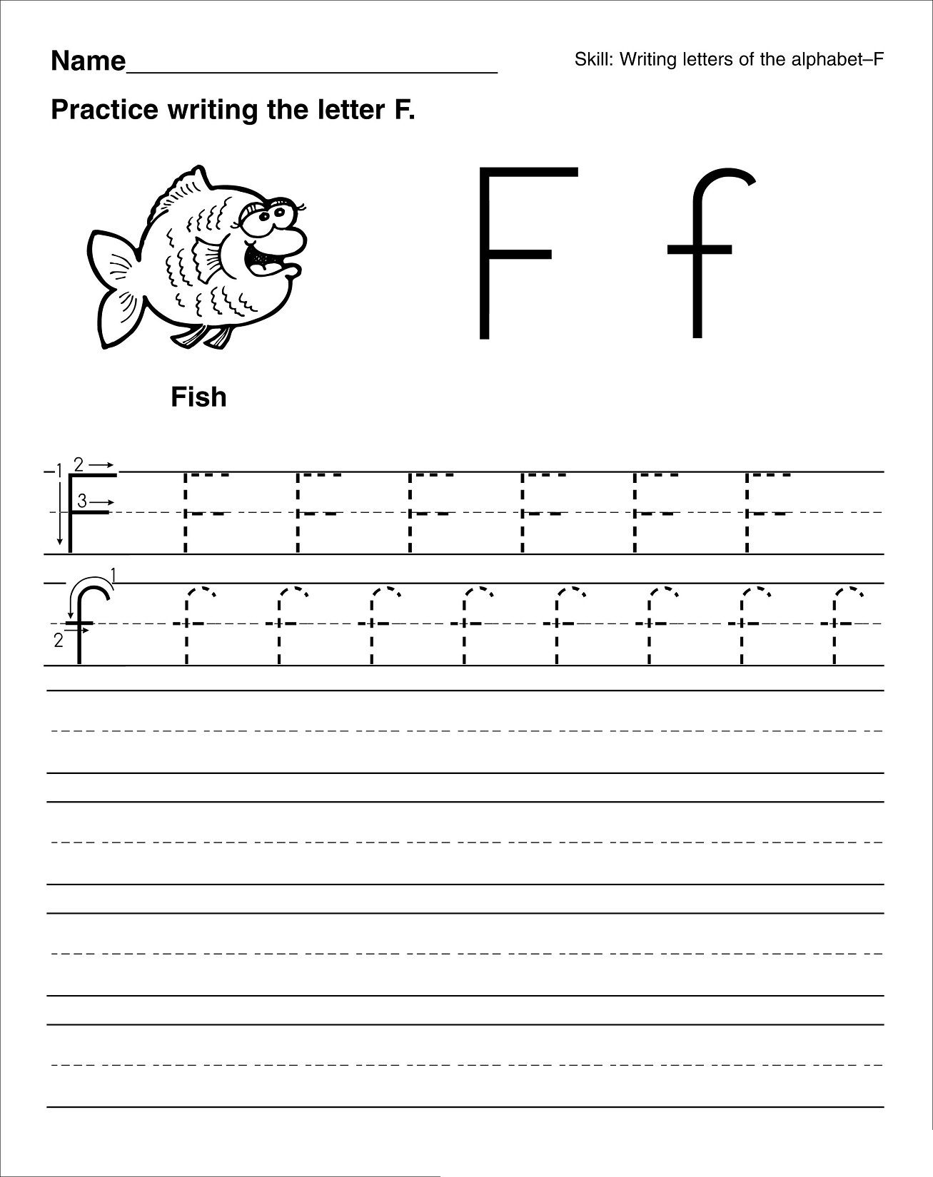 Letter F For Preschool Worksheets Trace Letter F