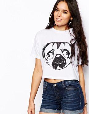 Camiseta corta con estampado esbozado de carlino de ASOS