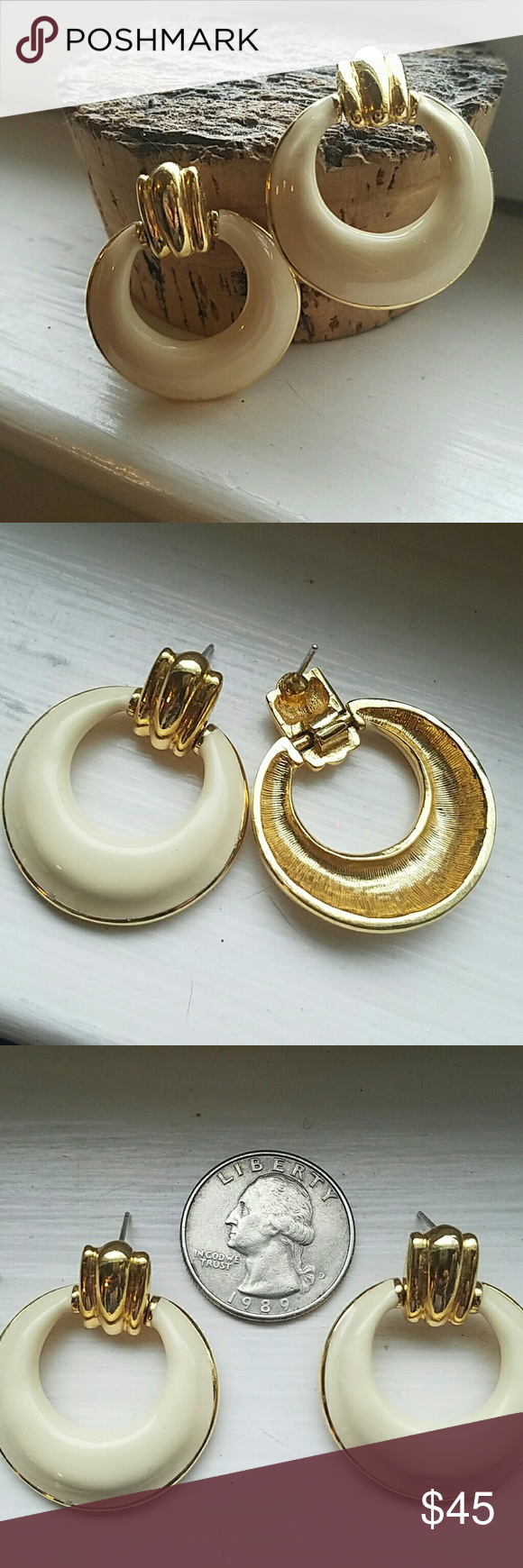 Vintage gold plate and enamel earrings Classic ans sophisticated, these earrings are vintage circa 1970's/ 80's.  They were my mothers, and she was the most classy woman I ever knew.  They measure 1.3 inches top to bottom and 1. 25 across.  These are posts, and the original backs are not present.  I will include comfortable soft rubber backs.  Very good condition. Jewelry Earrings