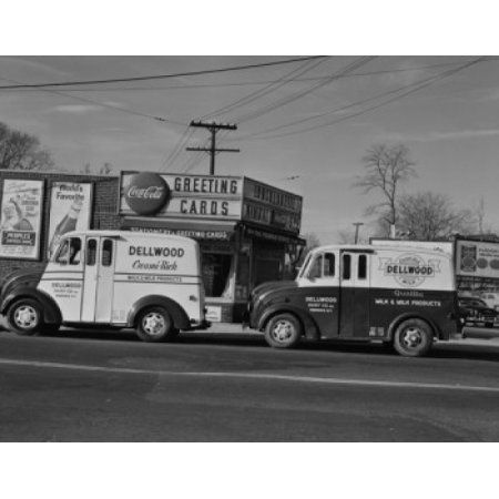 USA New York Yonkers Two Trucks Outside Store Canvas Art   (24 X 36)