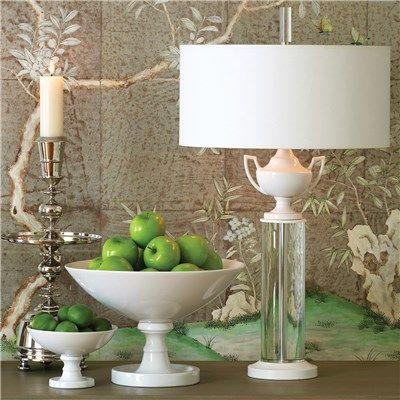 Global Views Lighting Ceramic Urn Crystal Table Lamp