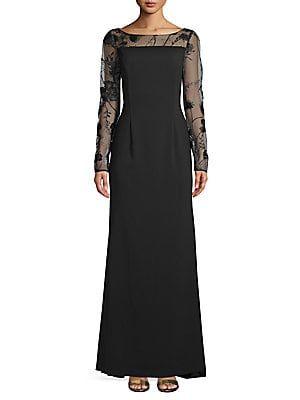 c1ea1de8151 Carmen Marc Valvo Long-Sleeve Lace Evening Gown in 2019 ...