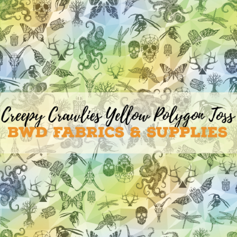 57950fc54c0 PREORDER BWD Exclusive - Creepy Crawlies Yellow Polygon Toss on Cotton  Spandex Jersey Knit Fabric