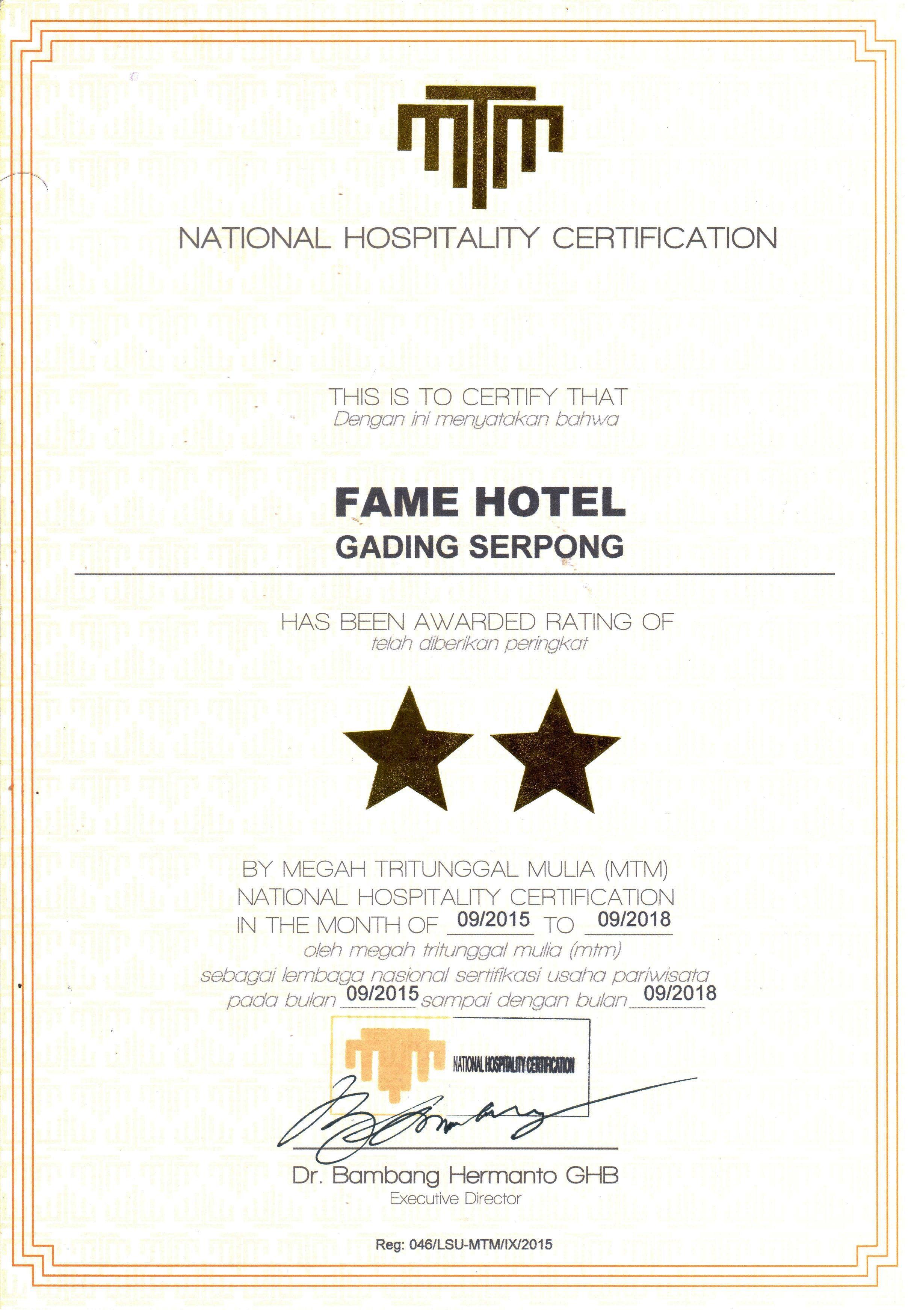 Pin By Fame Hotel Serpong On Sertifikasi Hotel Bintang 2 Pinterest