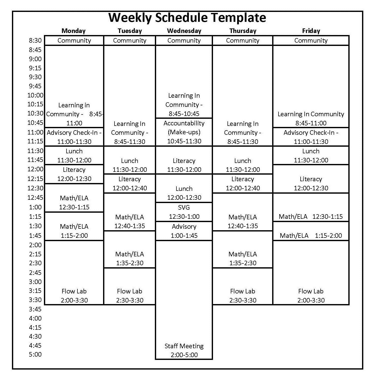New Weekly Time Schedules Schedule template, Schedule