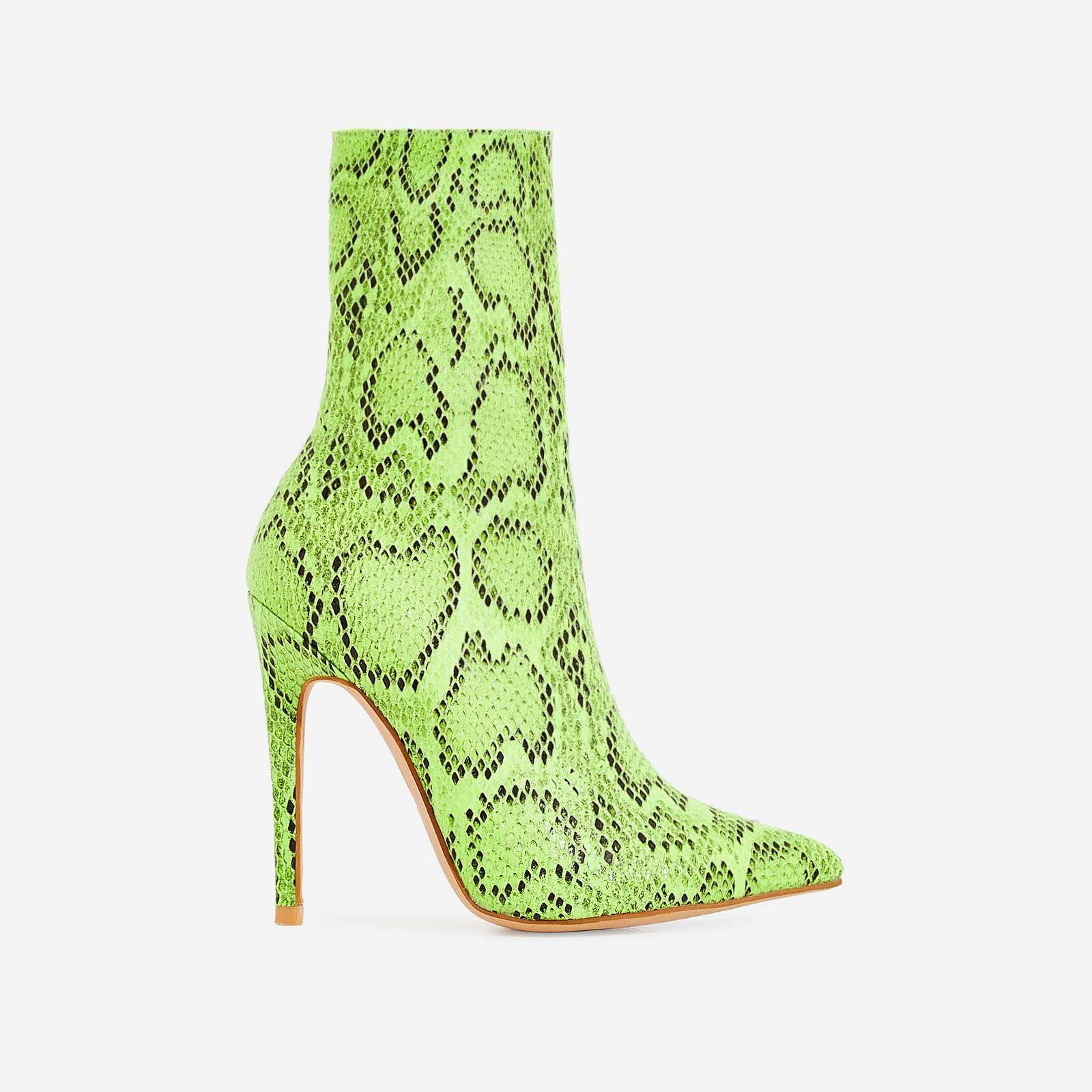 Boa Ankle Sock Boot In Neon Green Snake