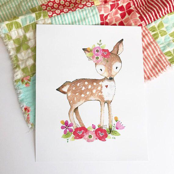 Chica conjunto impresión de vivero forestal. Decoración floral ...