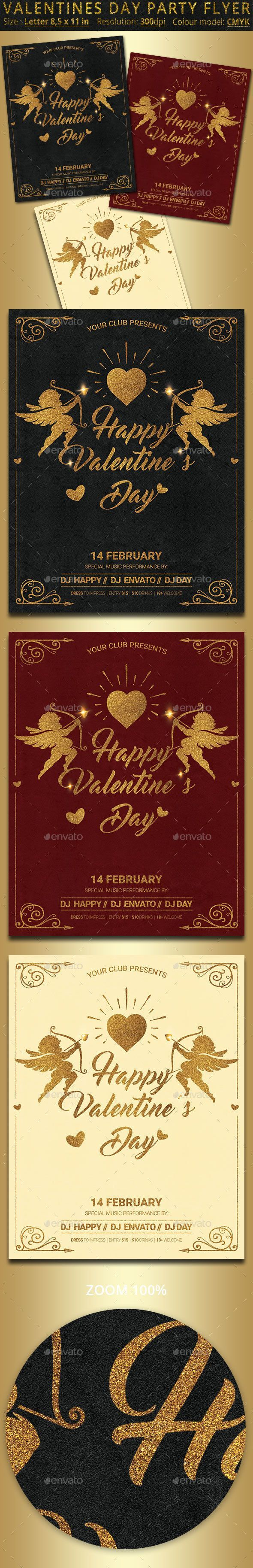Valentines Day Party Flyer Poster #couple #dove  • Download here → graphicri… –  #Couple #D…