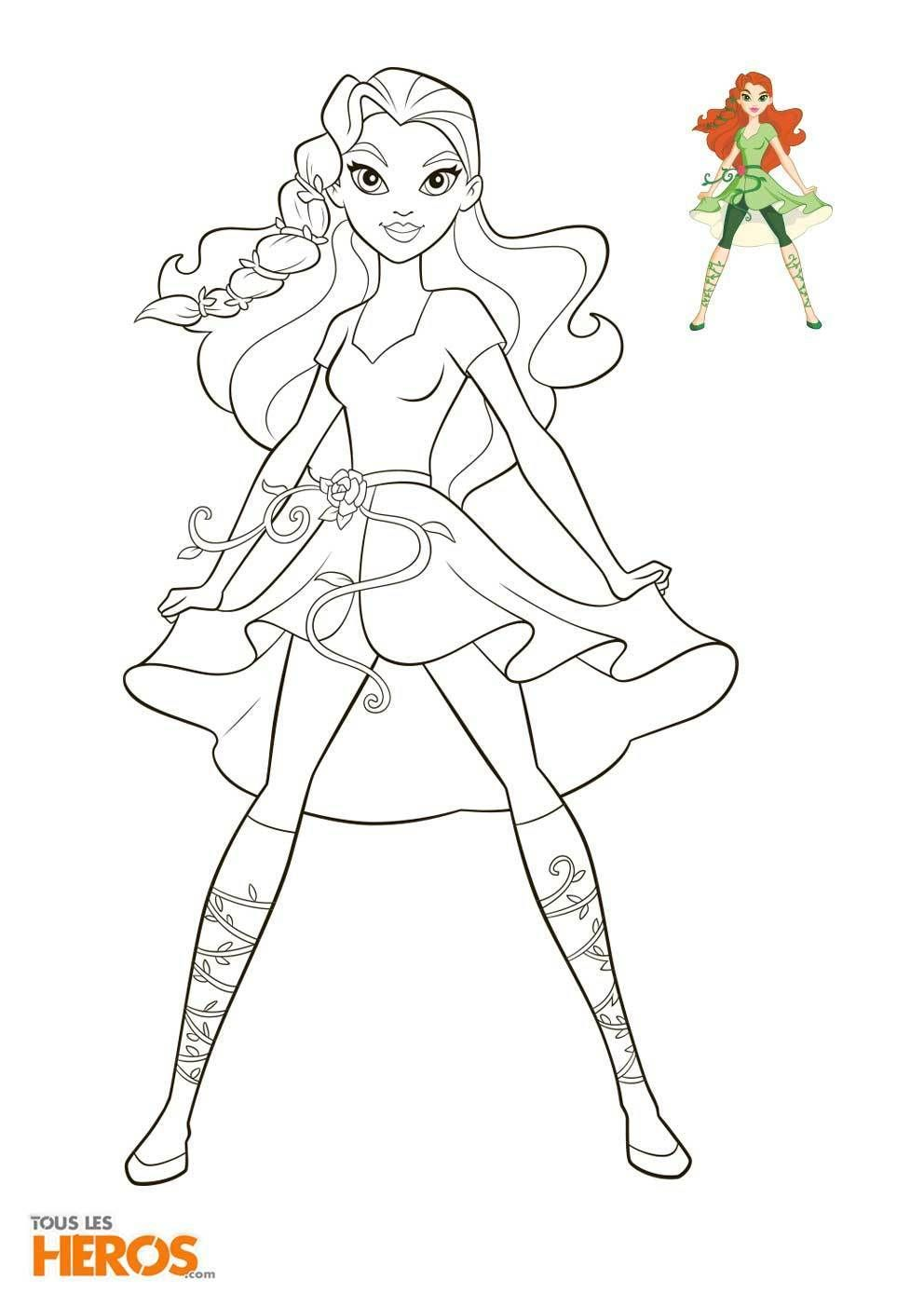 Coloriage Super Héros Fille in 2020 Superhero coloring