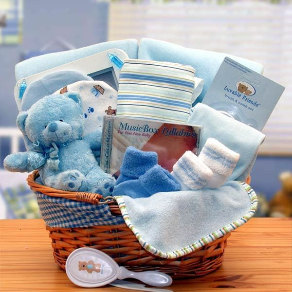 Simply The Baby Basics New Baby Gift Basket-Blue