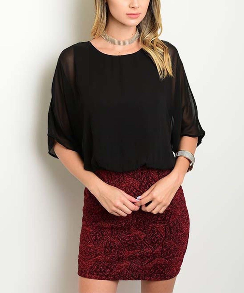 Look what I found on #zulily! Black Chiffon & Wine Geometric Blouson Dress by Shop the Trends #zulilyfinds