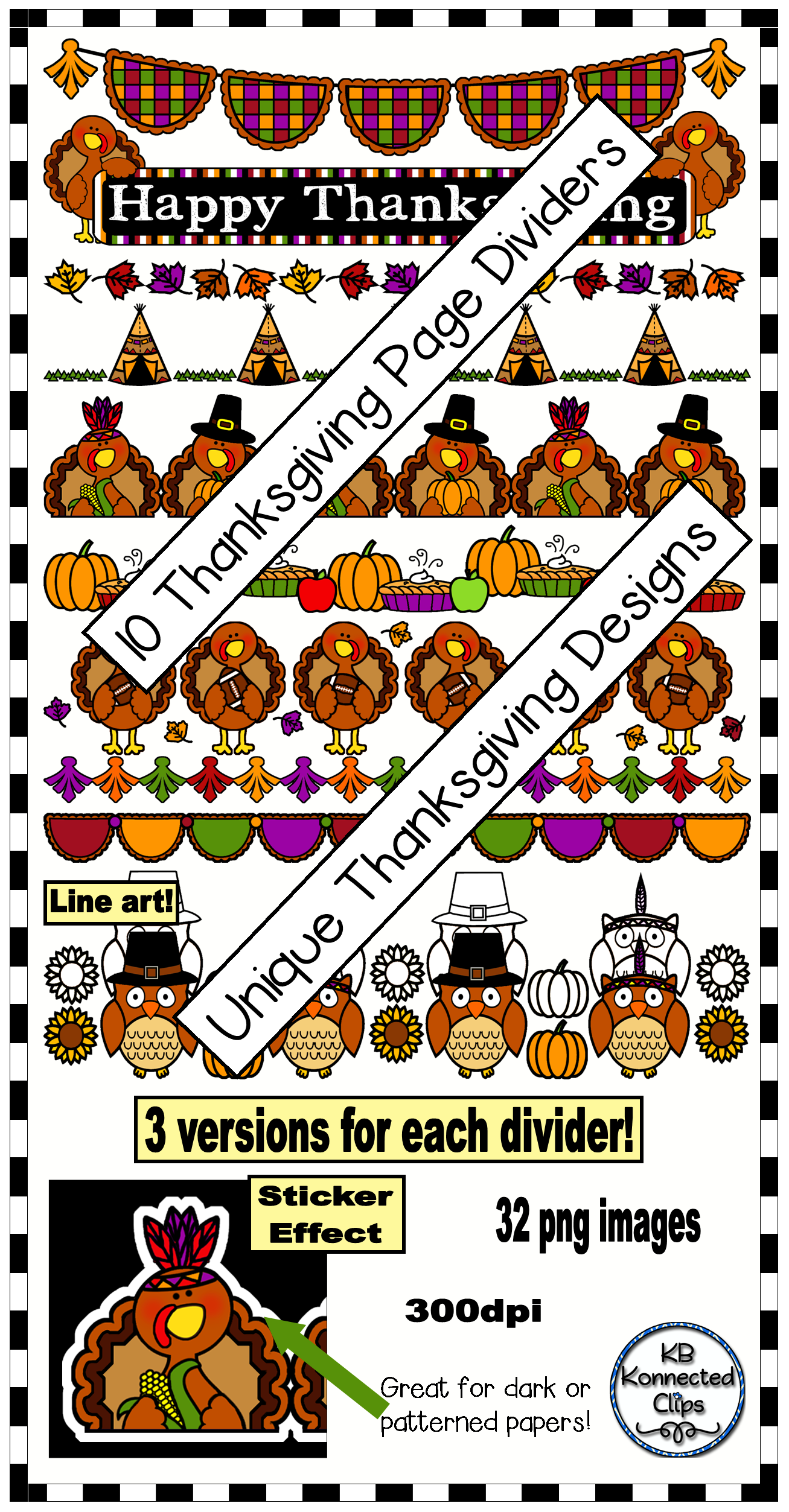 10 Thanksgiving Page Dividers