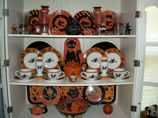 vintage halloween halloween decorations halloween china plates hobgoblins bruce elsass bethany lowe halloween kitchen decor - Halloween Kitchen Decor