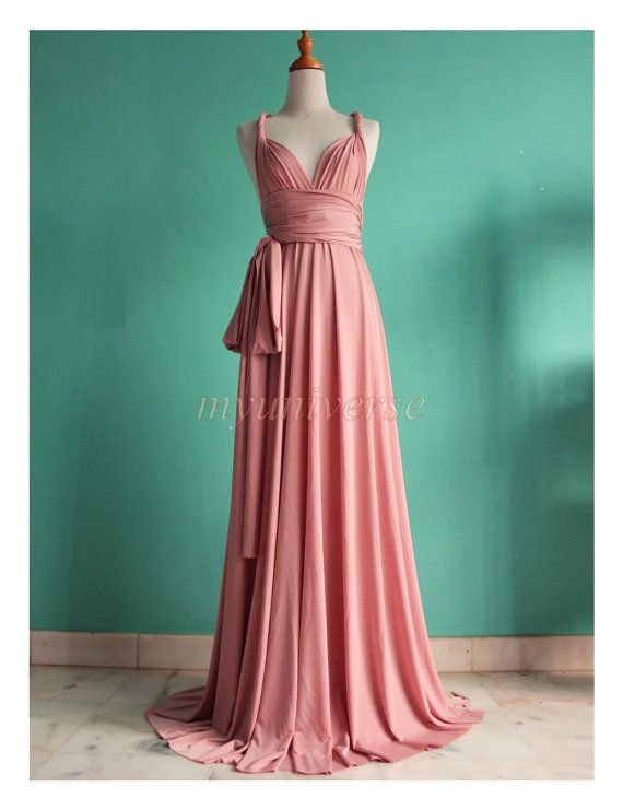 Check out Pink Wedding Bridesmaid Dress Wrap Convertible Dress Pastel Peach Infinity  Dress Maxi Dress on myuniverse c88ec9d14003