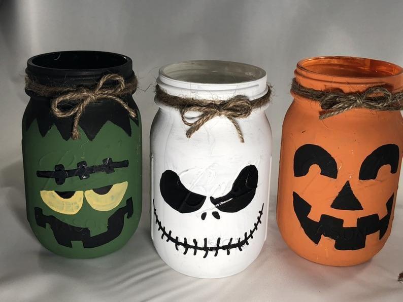 Photo of Halloween Monster Mason Jars / Monster Mason Jars / Halloween Mason Jars