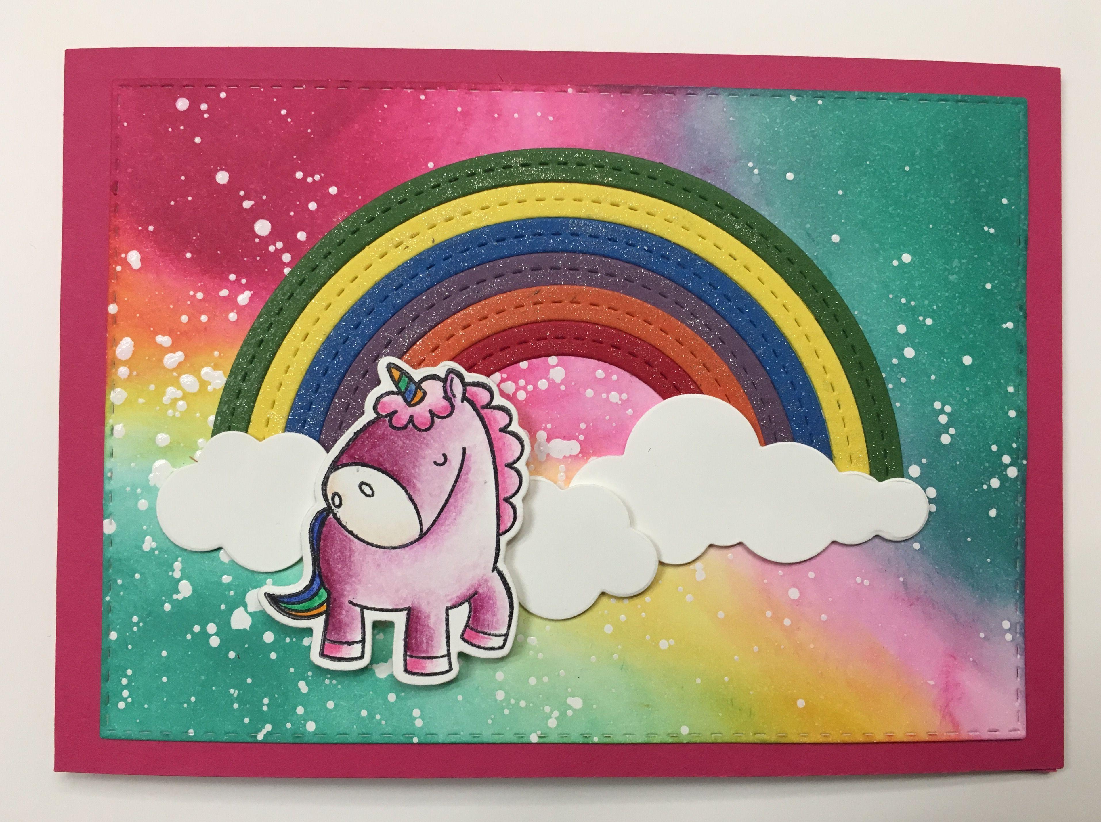einhorn mit regenbogen karte unicorn with rainbow card. Black Bedroom Furniture Sets. Home Design Ideas