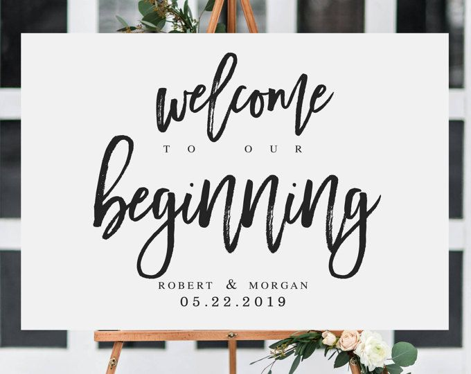 welcome to our beginning wedding sign template welcome wedding