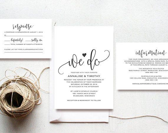 We Do Wedding Invitation Template, Rustic Kraft Invitation, Cheap