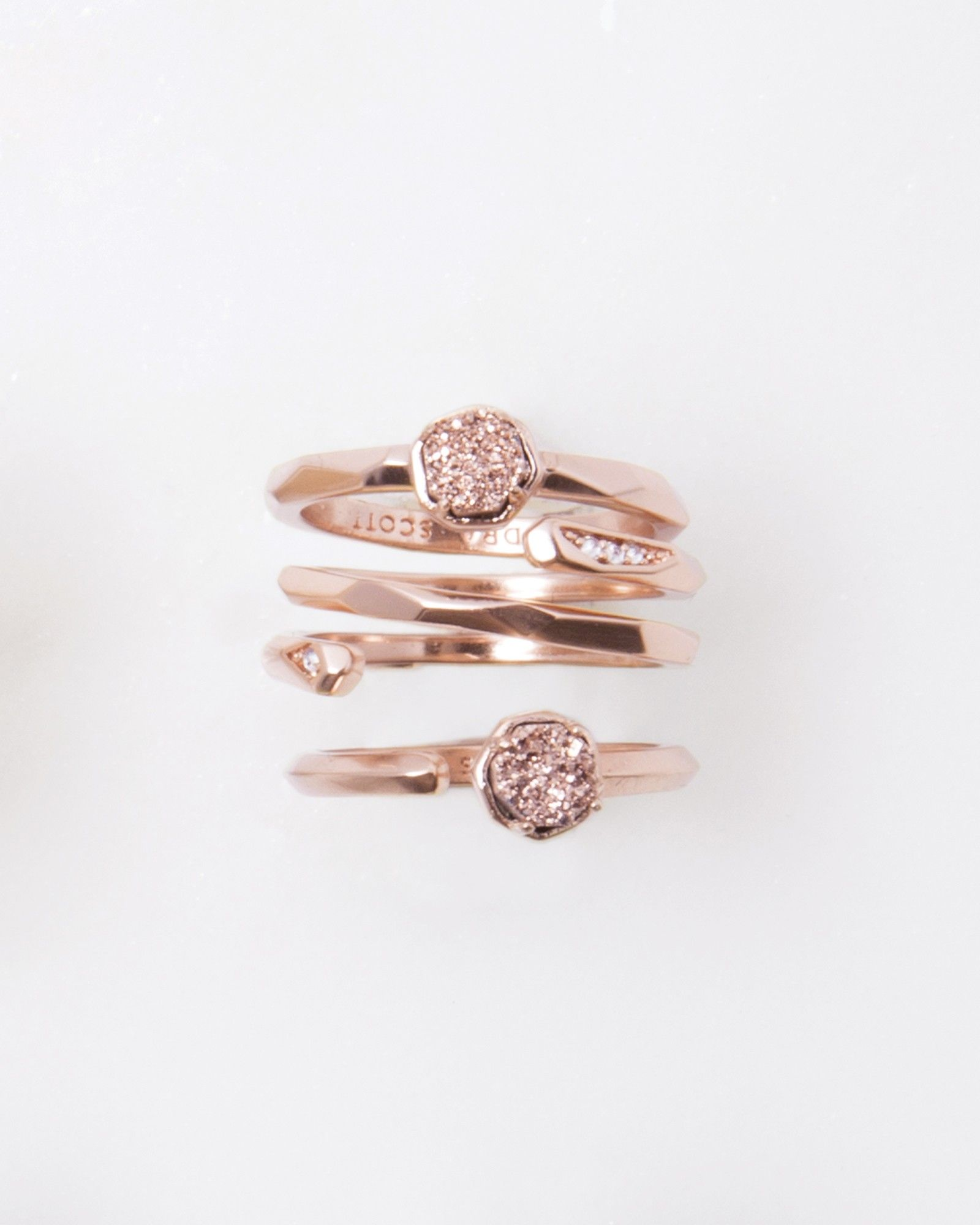 The Warren rose gold ring set in rose gold drusy is perfect for