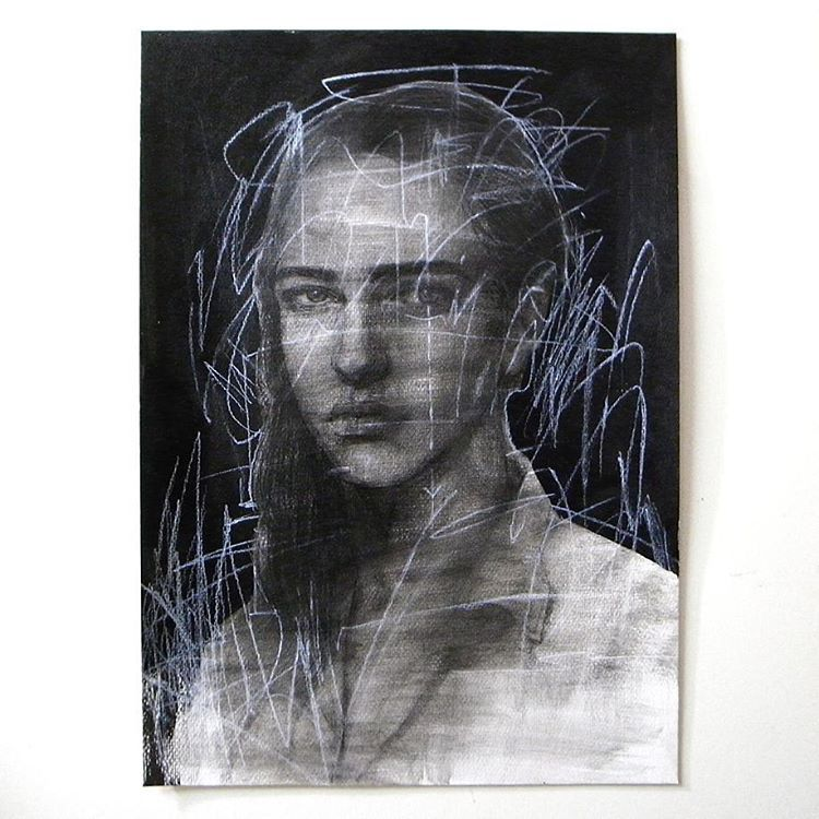 「Ayana Mizuno - Untitled, 2016, Carbon pencil  and charcoal on paper  #art #artist #artwork #drawing #sketch #pencil #charcoal #carbon #androgynous…」