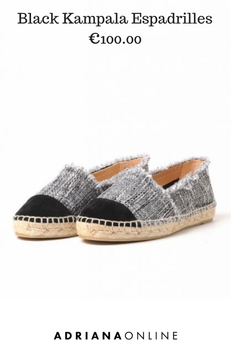 45f7dfc08 Do you love to wear espadrilles? Classic espadrillas in black and white  fabric with black toecap and fringed edges are comfy and good-looking.