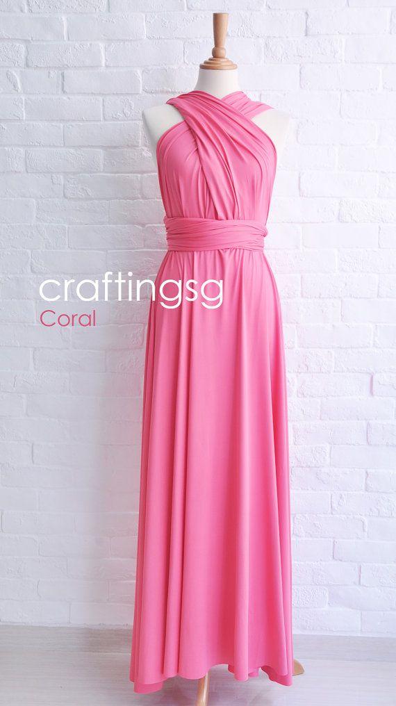 Bridesmaid Dress Coral Maxi Floor Length, Infinity Dress, Prom Dress ...