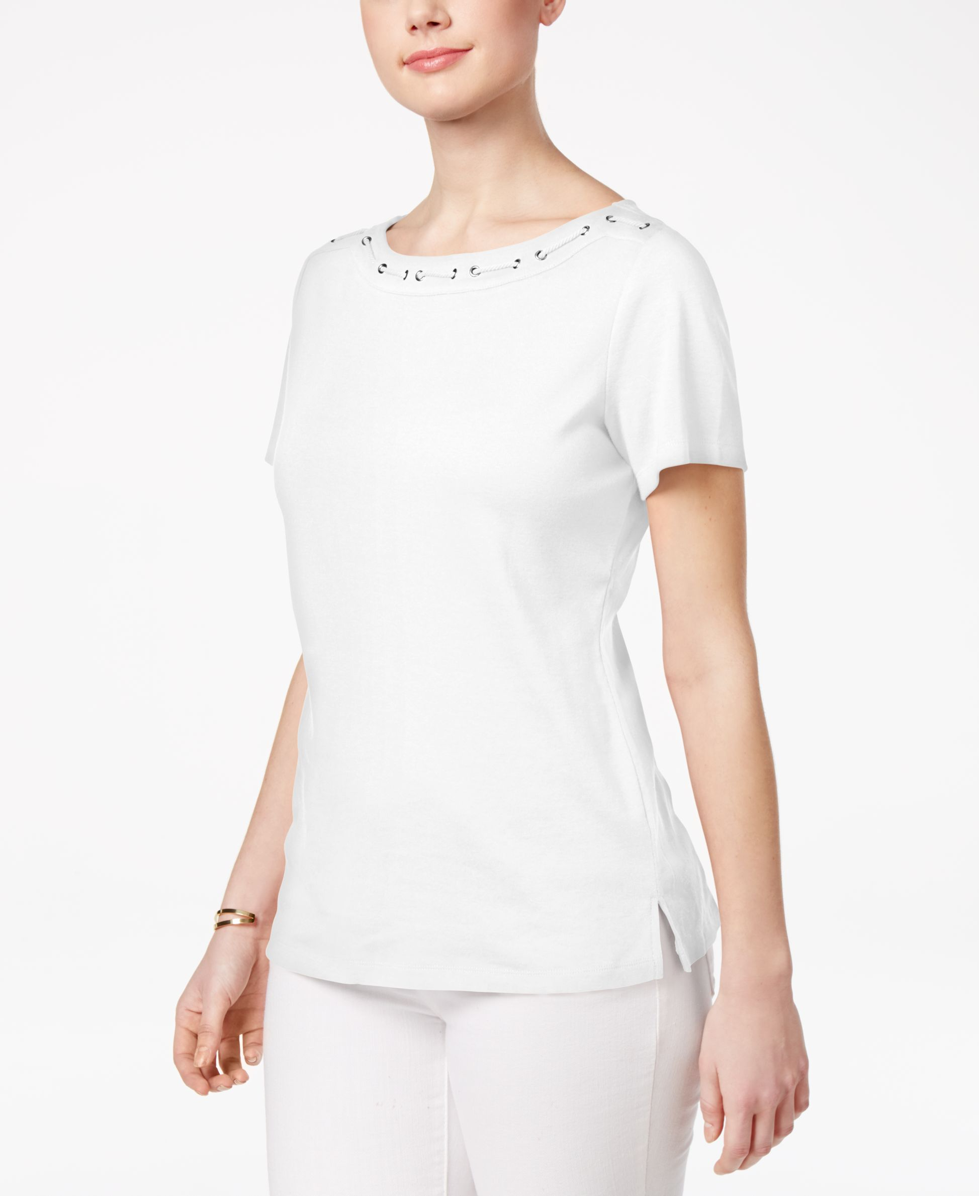 12738bf16dc0db Karen Scott Cotton Corded Boat-Neck Top, Only at Macy's | Products ...