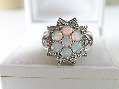 Estate Sterling Silver 925 Ethiopian Fire Opal White Topaz Cluster Ring Size 8
