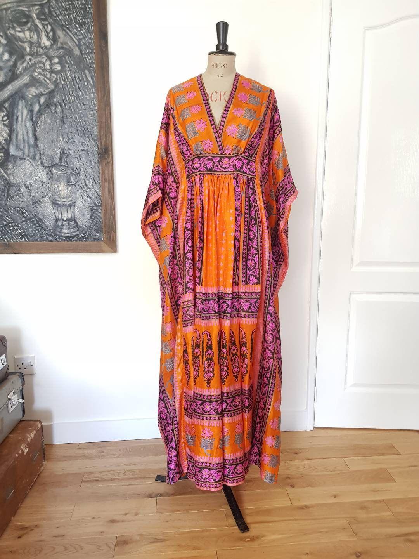 Vintage Orange Fitted Caftan Dress
