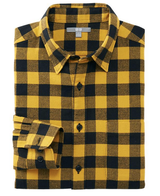 Yellow Buffalo Check Plaid Flannel Shirt For Men 2016