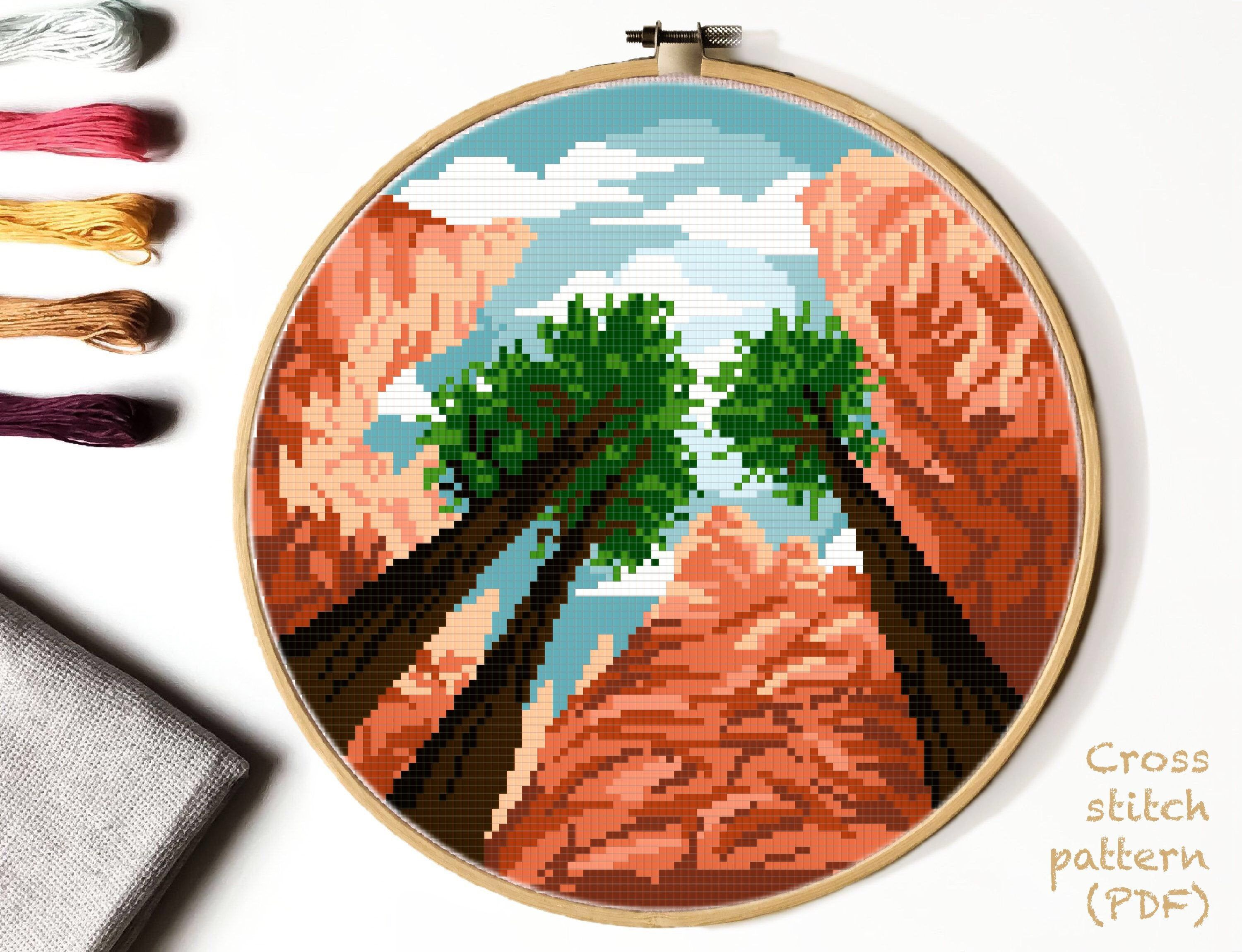 Photo of Bryce Canyon national park Modern Cross Stitch Pattern, nature counted cross stitch chart, landscape,  mountain, tree,  instant PDF