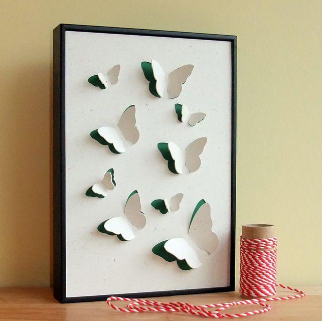 Butterfly wall art Framed hand cut 3D artwork & Butterfly wall art Framed hand cut 3D artwork | Borboletas ...
