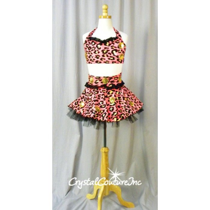 Encore Costume Couture Black/Orange Animal Print Bra Top  Skirt - black skirt halloween costume ideas