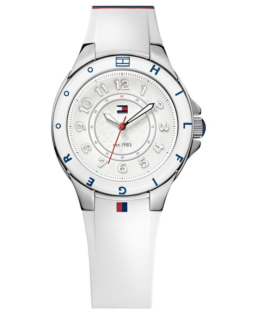 jó eladás olcsó kedvezménnyel árengedmény Tommy Hilfiger Watch, Women's White Silicone Strap 34mm 1781271 ...
