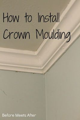 Before Meets After How To Install Crown Moulding And Use A Gallon Of Caulk In The Process Bathroom Crafts Master Bedroom Diy Crown Molding