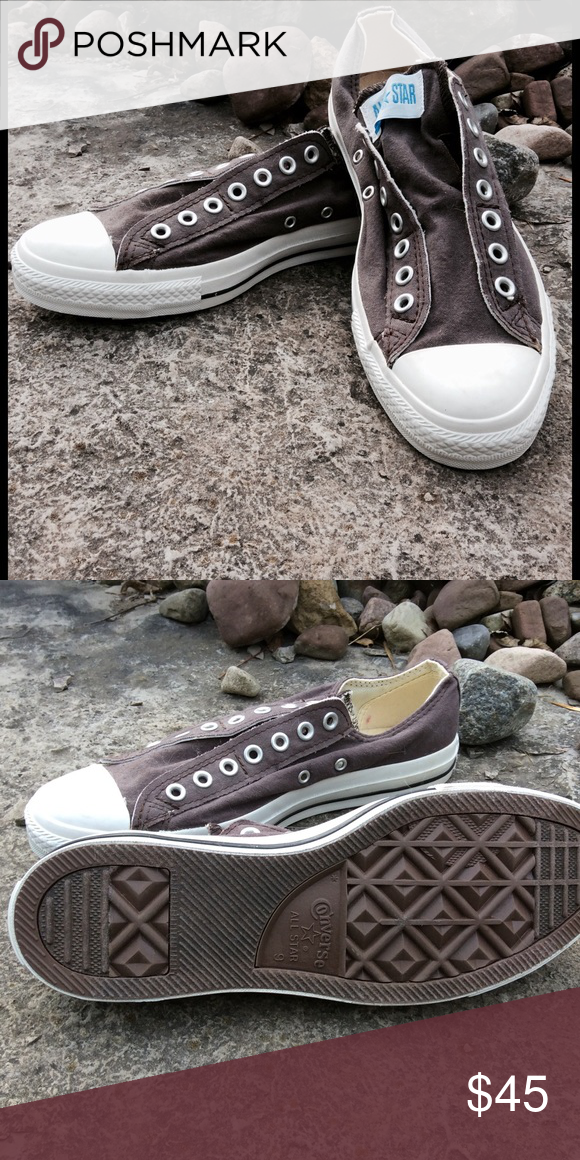 7fc77c21d6d408 Men s Converse Chuck Taylor All Star Slip Low Top NWOT Brown canvas  laceless Chuck Taylor Slip ons. Converse Shoes Sneakers