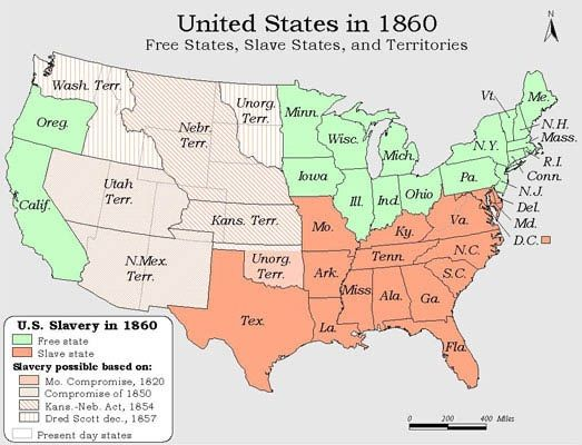 free and slave states map 1860